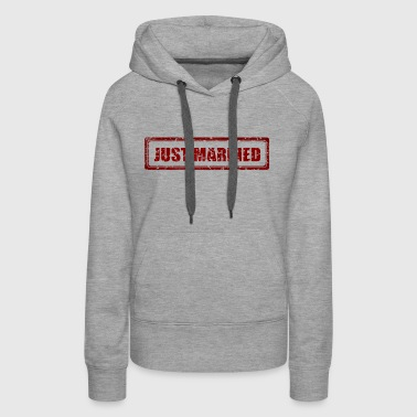 Just Married Marriage Stamp Gift Present - Women's Premium Hoodie