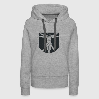 Vitruvian Astronaut Floating in Outer Space - Women's Premium Hoodie