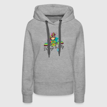 Girl aviator flying an old plane - Women's Premium Hoodie