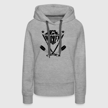 Ice hockey sticks crossbred and ice skates puck - Women's Premium Hoodie