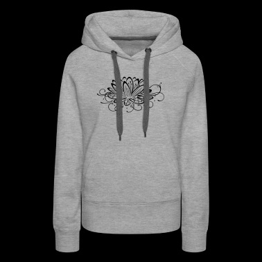 Filigree lotus with leaves, yoga - Women's Premium Hoodie