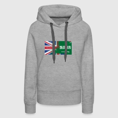 British Saudi Half Saudi Arabia Half UK Flag - Women's Premium Hoodie