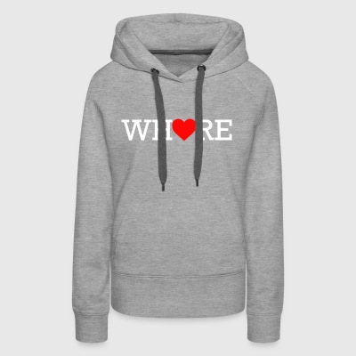 Whore Heart White Print - Women's Premium Hoodie