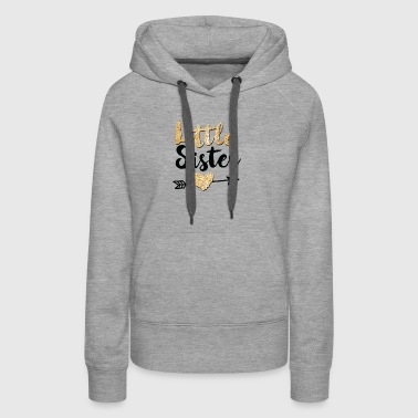 Little Sister Glitter Heart Arrow - Women's Premium Hoodie