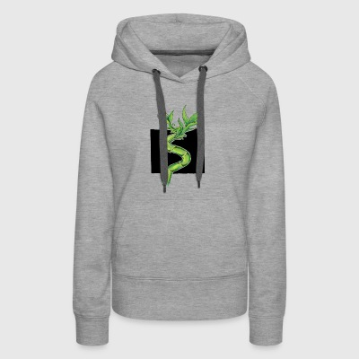 Leafy Bamboo Shoot Illustration Design - Women's Premium Hoodie