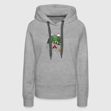 Cartoon Camping Scene T shirt - Women's Premium Hoodie