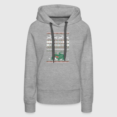 Merry Christmas Crocodile Ugly Sweater - Women's Premium Hoodie