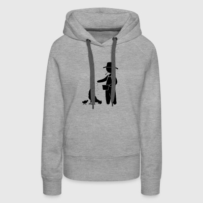 Farmer Feeding The Chickens - Women's Premium Hoodie