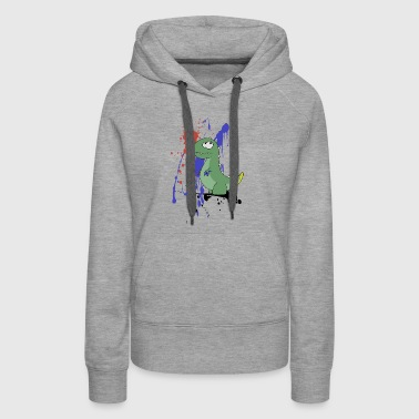 Dinosaur playing with colors children funny gift - Women's Premium Hoodie