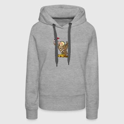 Hilarious Cute Vulture In Santa Hat Christmas Art - Women's Premium Hoodie