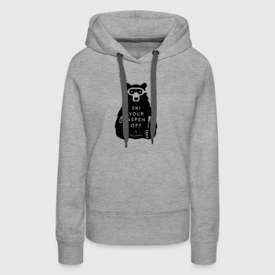 Ski Your Aspen Off Funny Bear - Women's Premium Hoodie