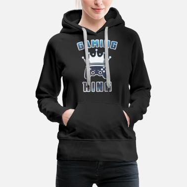 Pc Gaming King with Gamepad Joypad Gamer - Women's Premium Hoodie