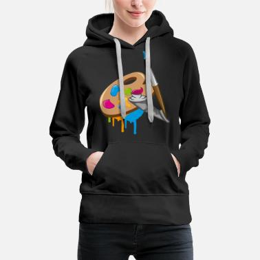 Paint Brush a Paint brush, colors and a painter's palette - Women's Premium Hoodie