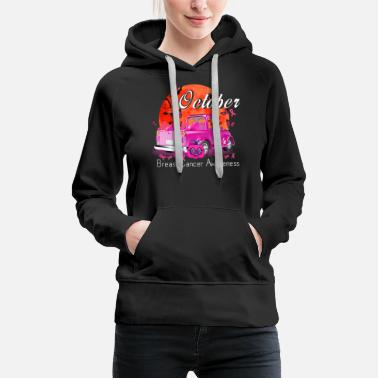 Pumpkin Pink Truck Breast Cancer Awareness Month - Women's Premium Hoodie
