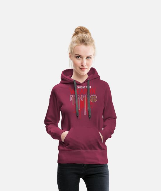Viking Hoodies & Sweatshirts - Viking Weapon - Sword / Axe / Shield - Women's Premium Hoodie burgundy