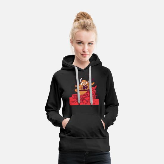 Comics Hoodies & Sweatshirts - Funny Giant Monster - Women's Premium Hoodie black