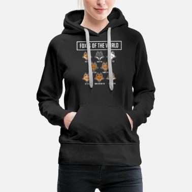 Wolf Foxes Of The World - Funny Cute Education School - Women's Premium Hoodie