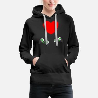 Video Gamer At Heart Gift Mens Boys Valentines Day - Women's Premium Hoodie