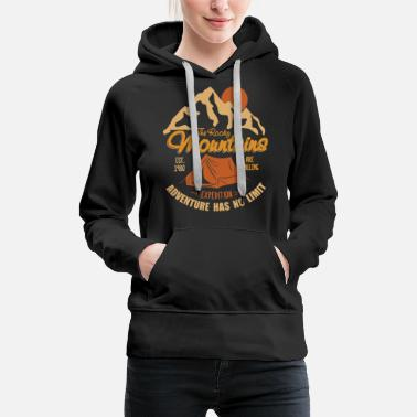 Vintage Retro Rocky Mountains Hiking Camping Gift - Women's Premium Hoodie