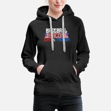 Bacon Baseball Bacon Guns and Freedom American Flag gift - Women's Premium Hoodie