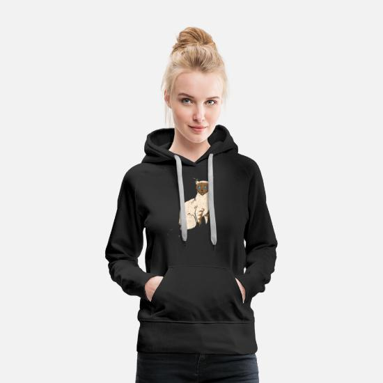 Pet Hoodies & Sweatshirts - Siamese Cat Breed Animal Gift T-Shirt - Women's Premium Hoodie black