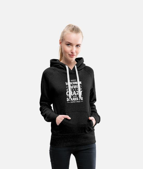 Husband Hoodies & Sweatshirts - Anniversary Gifts for men With Wife fromWisconsin - Women's Premium Hoodie charcoal gray