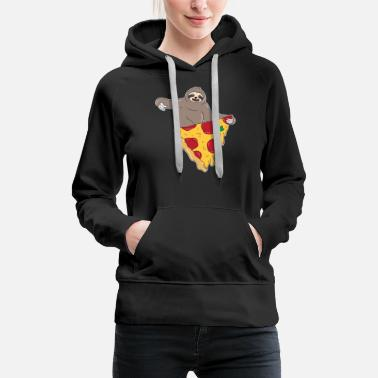 Pizza Sloth Pizza Eating Cute and Funny Usa Lover Gift - Women's Premium Hoodie