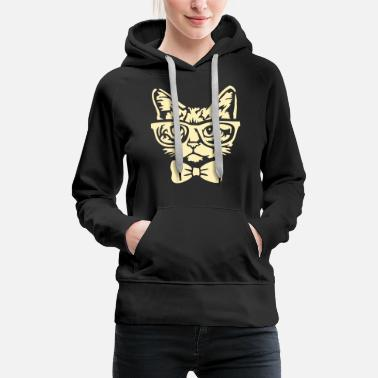 Hipster Cat with bow tie - Women's Premium Hoodie