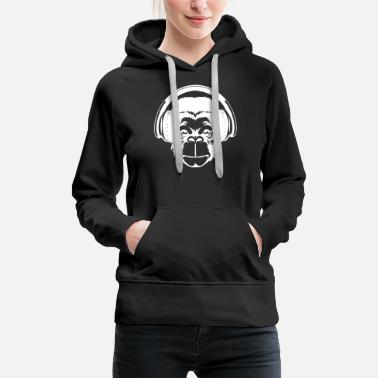Monkey With Headphone Monkey head with headphones - Women's Premium Hoodie