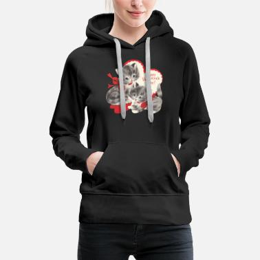 VALENTINES DAY KITTENS RED BOW & HEARTS - Women's Premium Hoodie