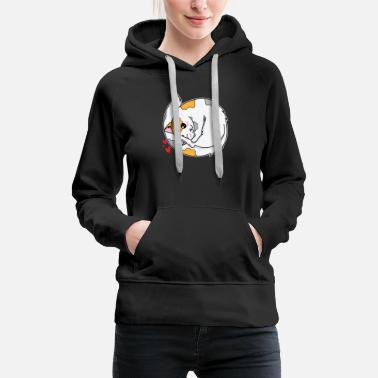 Fluffy Cat lies curled up with hearts - Women's Premium Hoodie