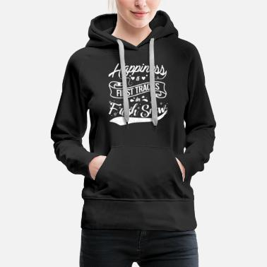 Happiness HAPPINESS IS FIRST TRACK IN FIRST SNOW - Women's Premium Hoodie