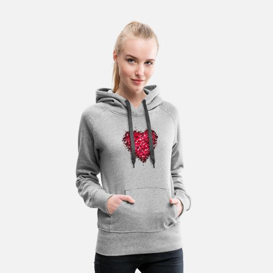 Valentine's Day Hoodies & Sweatshirts - Heart - Women's Premium Hoodie heather gray
