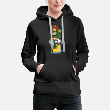 Lucky Clover Irish Fairy Sits In A Beer Mug And Brings Luck - Women's Premium Hoodie