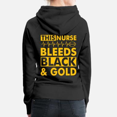 Black Cat &amp THIS NURSE BLEEDS BLACK amp GOLD - Women's Premium Hoodie