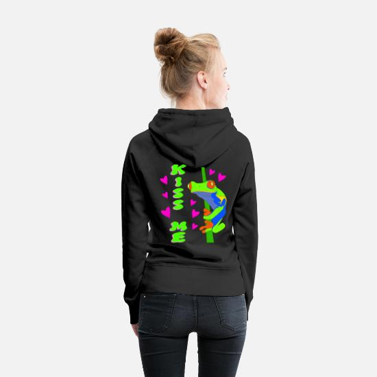 Frog Hoodies & Sweatshirts - Kiss me. Green tree red-eyed tree frog prince - Women's Premium Hoodie black
