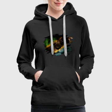 Tanzania Flag & African Lion Picture - Women's Premium Hoodie