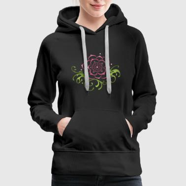 Lotus flower with filigree tribal. Yoga. - Women's Premium Hoodie
