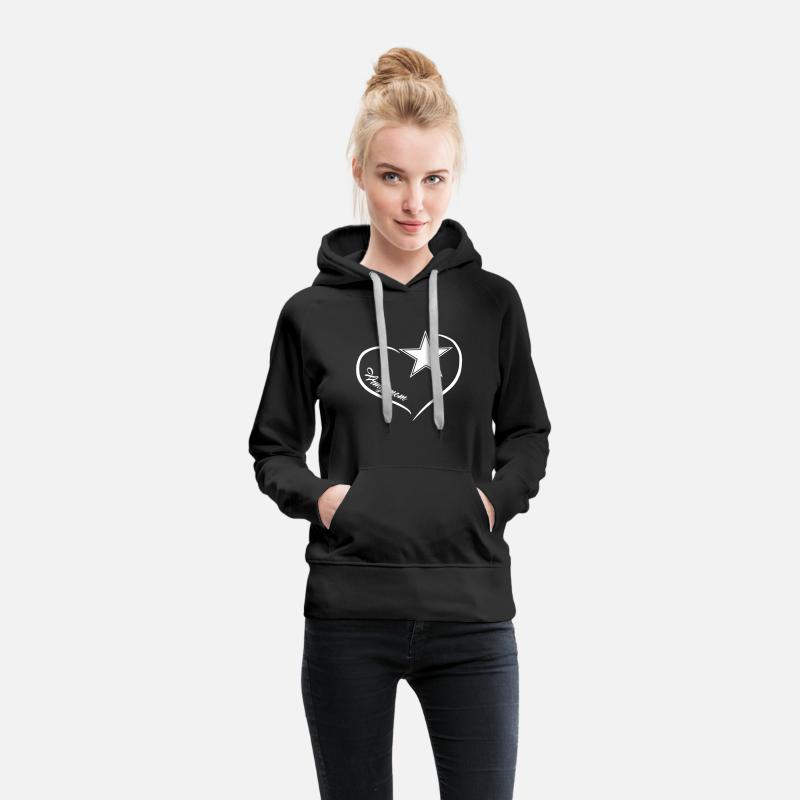 Army Hoodies & Sweatshirts - Army Mom Heart Shirt - Women's Premium Hoodie black