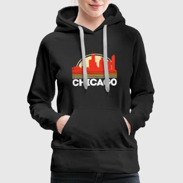 Classic Retro chicago City Skyline Vintage Shirt - Women's Premium Hoodie