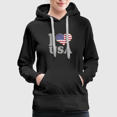 I Love USA July 4th American Flag Pride T Shirt - Women's Premium Hoodie