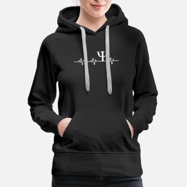Psychology Psych Symbol Heartbeat T-Shirt Funny Psychologist - Women's Premium Hoodie