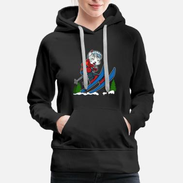 Aspen Skiing Cat Wintersports Holliday Gift Present - Women's Premium Hoodie
