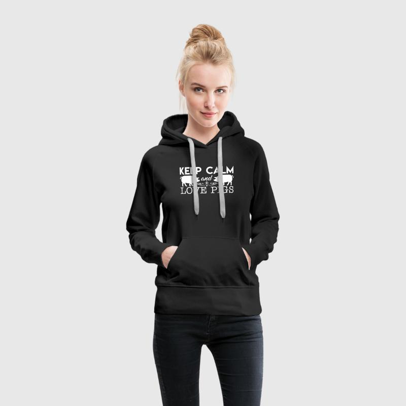 Keep Calm And Love Pigs - Women's Premium Hoodie