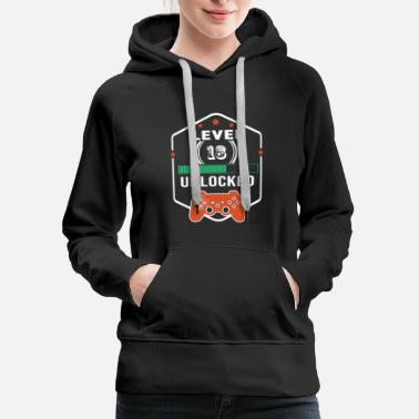 Level 18 Unlocked T-Shirt Video Gamer Birthday - Women's Premium Hoodie