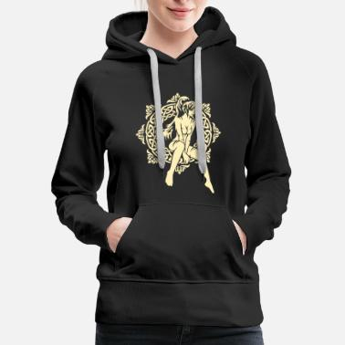 Pattern A girl and a Celtic pattern - Women's Premium Hoodie