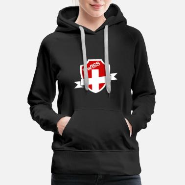 Swiss Cross Swiss Cross on Badge - Women's Premium Hoodie