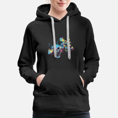 Skull Colorful Great Death Drawing Painting Art - Women's Premium Hoodie