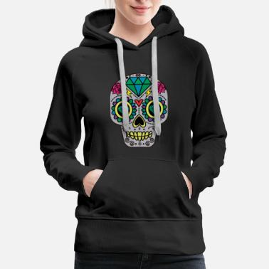 Sugar Skull Abstract Sugar Skull Day of The Dead  - Women's Premium Hoodie