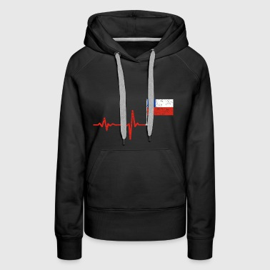 Heartbeat Chile flag gift - Women's Premium Hoodie